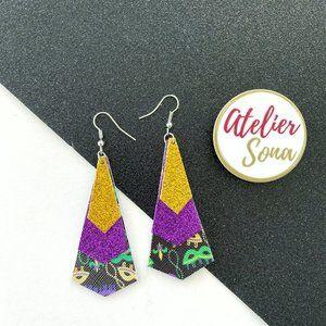 Sparkly Mardi Gras Earrings - Purple